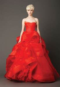 red lace strapless wedding dress with ruffles sang maestro
