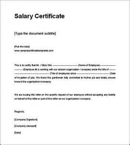 Certification Letter Format Example sample request letter for salary certificate cover letter templates