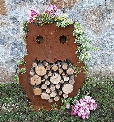 Gartendeko Holzfiguren by Eule Holz Edelrost Gartendeko Geschenkidee Rost Blech