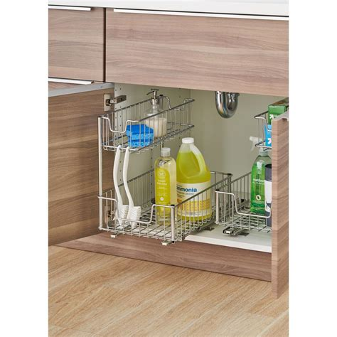 kitchen cabinet organizers home depot sliding undersink organizer tbfc 2204 the home depot