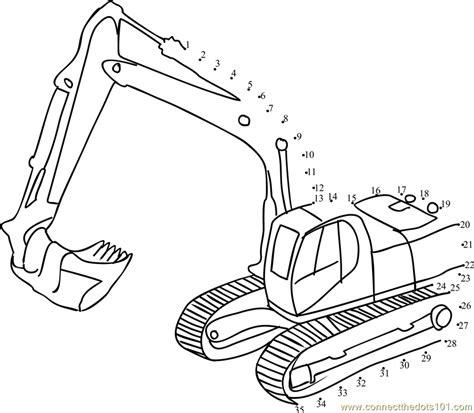 printable dot to dot tractor jcb truck dot to dot printable worksheet connectthedots101 com