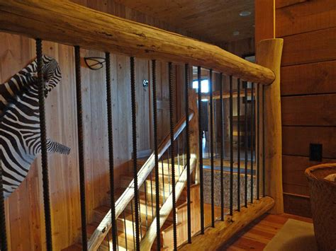 cabin   pine marshall nc staircase