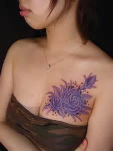 Lotus Flower Breast Purple Tattoos