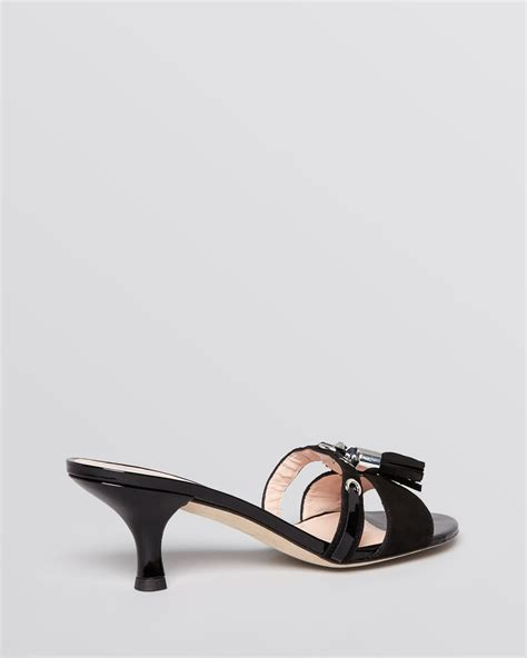 sandals with heels lyst stuart weitzman slide sandals tassa kitten heel in