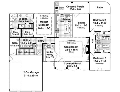 basement floor plans 2000 sq ft country house plan with 3 bedrooms and 2 5 baths plan 6336