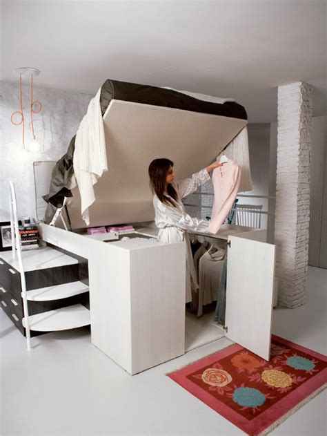 smart bed design with hidden closet under it container