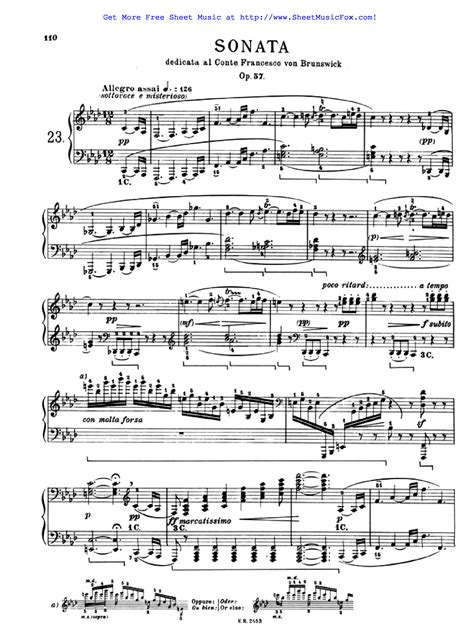 free sheet for piano sonata no 23 op 57 beethoven ludwig by ludwig beethoven