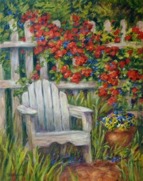 Flower Garden Painting Daily Painting Projects Garden Seat Painting Landscape Garden Flowers Adirondack Chair