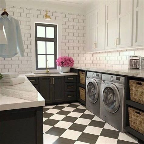 Black Laundry Cabinets With White Subway Tiles Black And White Laundry
