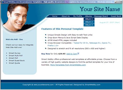 Personal Website Templates E Commercewordpress Personal Website Template Html Css