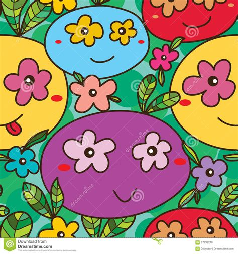 flower pattern in eyes mascot eye on flower many seamless pattern stock vector