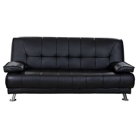 Black Leather Futon Bed Venice 3 Seater Black Sofa Bed Faux Leather W Chrome Legs Cushions Pillows Futon Ebay