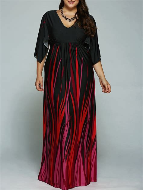 black 4xl a line empire waist printed plus size formal maxi dress with batwing sleeves rosegal