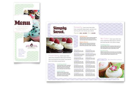 bakery cupcake shop menu template