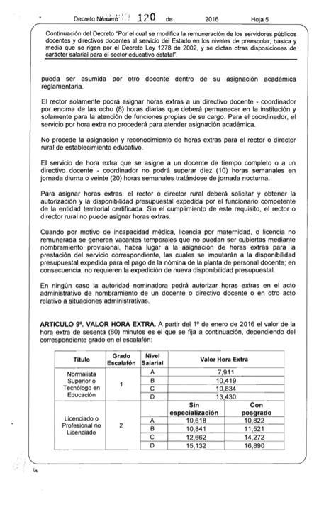 asinacion salarial docentes 1278 ao 2016 decreto 120 de 2016