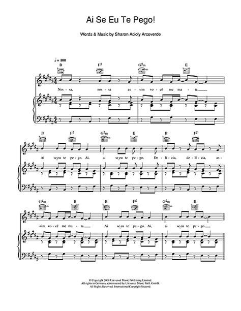 ai se eu te pego testo ai se eu te pego sheet by michel telo piano vocal