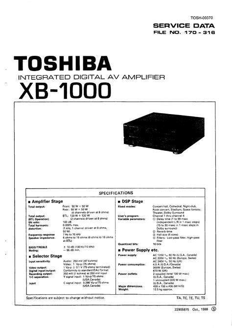 Toshiba Xb1000 Service Manual Immediate Download