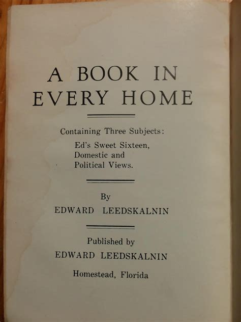 Every Home by A Book In Every Home By Ed Leedskalnin Original Book