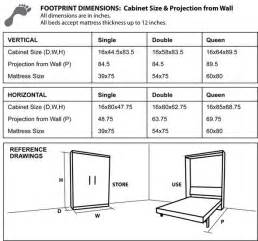 Size Murphy Bed Dimensions Cabinet Dimensions