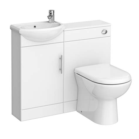 Cloakroom Suites With Vanity Unit by W920 X D200mm High Gloss White Vanity Unit