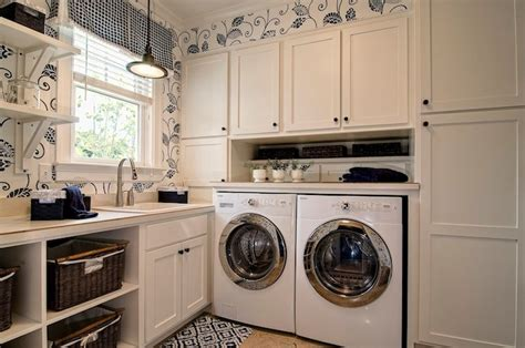 White And Navy Blue Laundry Room Design Ideas Navy Laundry
