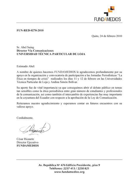 carta de agradecimiento formato word carta de fundamedios gesti 243 n en comunicaci 243 n investigaci 243 n aplicada extensi 243 n y servicios