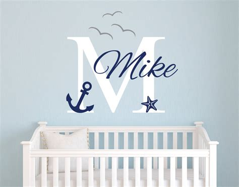 Personalized Name Nautical Baby Room Decor Anchor Wall Vinyl Wall Decals Nursery