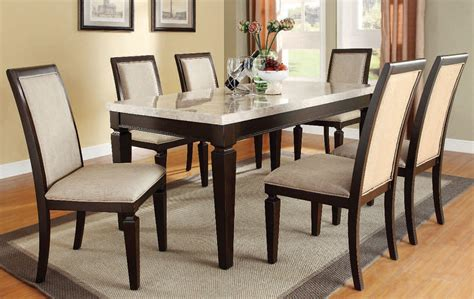 Agatha White agatha white marble top dining room set acme furniture