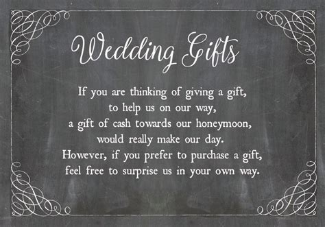 Gift Card Wish - chalkboard wedding gift wish card from 163 0 40 each