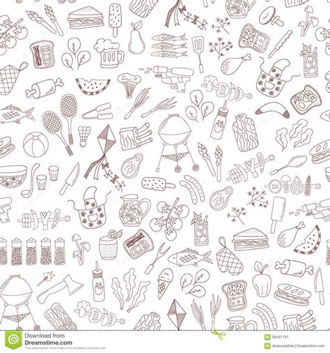 vector pattern hand drawn vector seamless doodle barbecue pattern stock vector