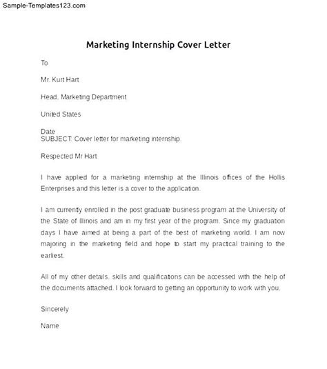 marketing internship cover letter sle sle templates