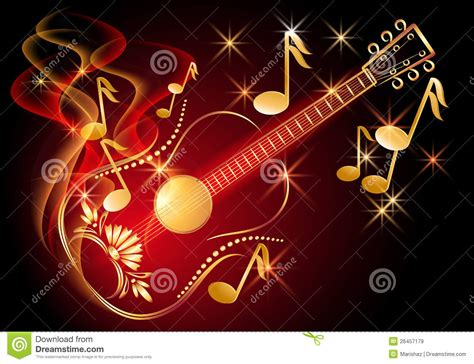 imagenes de videos musicales guitarra y notas musicales im 225 genes de archivo libres de
