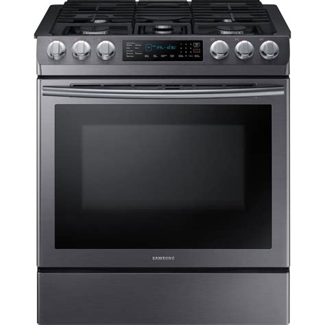 samsung 30 in 5 8 cu ft single oven gas slide in range with self cleaning and fan convection