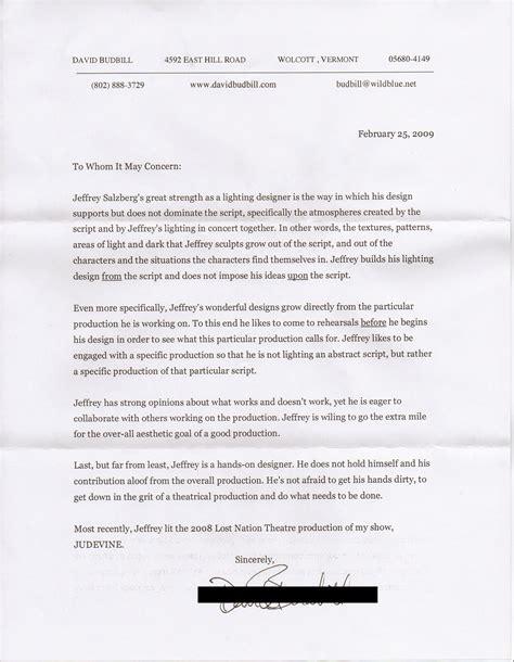 Recommendation Letter For Ballet Jeffrey E Salzberg Lighting Designer For And Theatre