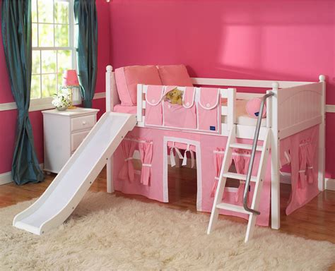 Playhouse Loft Bed W Slide By Maxtrix Kids Pink White On