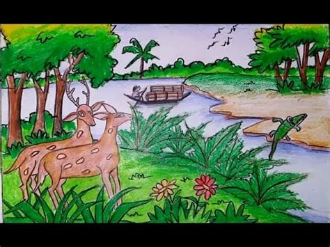 Novel Hq Simple how to draw a scenery of sundarbans forest step by step