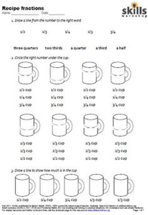 Kitchen Math Measuring Worksheet by Printables Cooking Measurements Worksheet