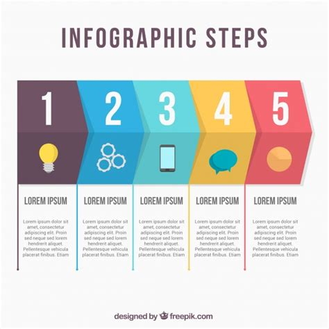 stepping design templates flat infographic steps template vector free