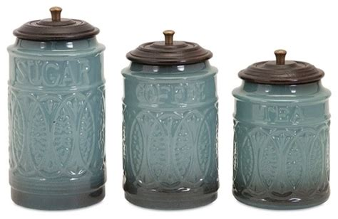 coffee sugar tea gray blue ceramic canisters set