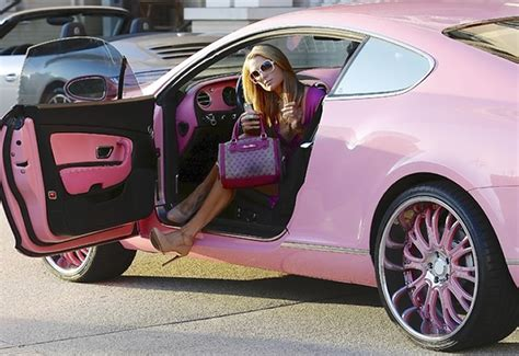 pink bentley interior paris hilton drives pink bentley to barneys new york in