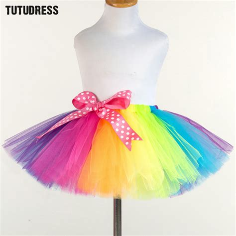 Skirt Tutu Ribbon rainbow tutu tutu skirt fluffy baby tutus pettiskirt ribbons bow tulle skirt