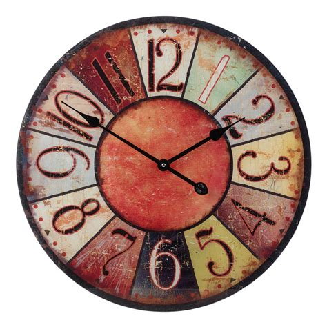 57cm large round glass shabby wall clock vintage retro antique distressed style ebay