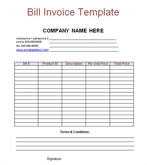 bill invoice template sle billing invoice 12 documents in pdf word excel