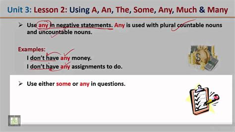 grammar u 3 l 2 using a an the some any much