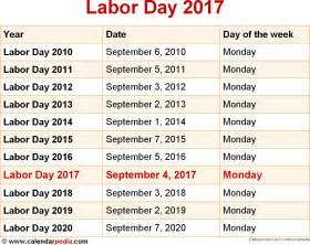 Calendar 2018 Weekend When Is Labor Day 2017 2018 Dates Of Labor Day