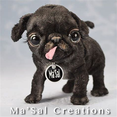 black pug teddy ma sal original special dolly baby black pug direct from the artist baby