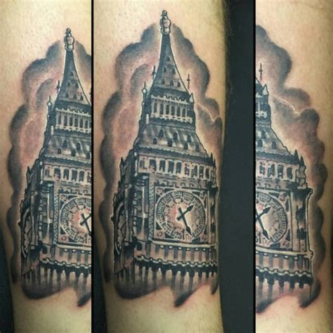 london tattoo traditional big ben on leg