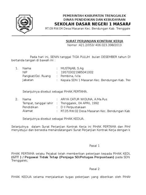 contoh surat perjanjian kontrak kerja gtt ptt 2015 xlsx
