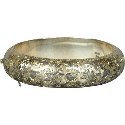 antique 950 sterling silver hinged bracelet