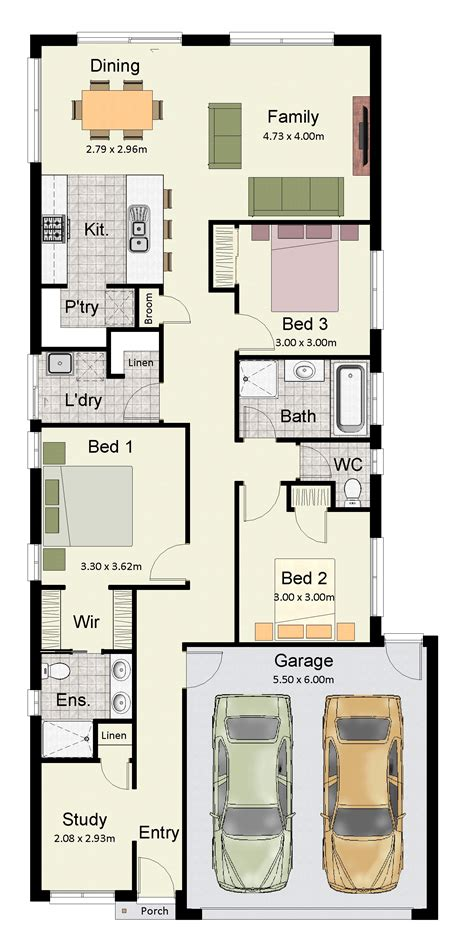 floor plans for narrow blocks ahscgs